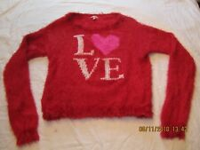 VGC Juicy Couture Red Pink Heart LOVE Soft Fuzzy Feathery Sweater Top Sz Lg