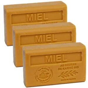 3 x 125g Bars - Honey Scented French Soap with Organic Shea Butter