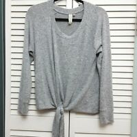Allison Joy Gray Sweater with front tie detail, gathered back Soft Small