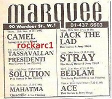 CAMEL UK TIMELINE Advert - Marquee,Thursday 15th November 1973 3x3""