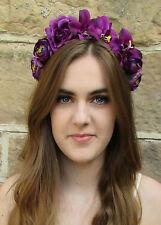 Purple Rose Orchid Flower Headband Hair Crown Headpiece Festival Floral Vtg X-96