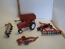 1991 All American Farmer red METAL toy farm Tractor, 2 Discs, Wagon, and Trailer