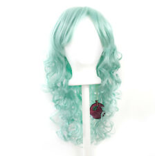 20'' Long Layered Super Curly Long Bangs Mint Green Cosplay Wig NEW