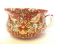 Small decorative chamber pot planter in William Morris red birds tapestry design