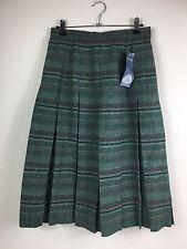 Ladies Women Edinburgh Woollen Mill 100% Wool Green Striped skirt Size 12 NEW (X
