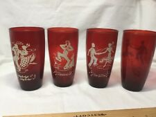 """4-Anchor Hocking Royal Ruby Red Glass Tumblers - 'Square Dance' - 5 3/4"""" - '40's"""