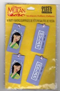Disneys Mulan Necklaces 4 Birthday Party Favors Purple Lavender Double-sided NEW
