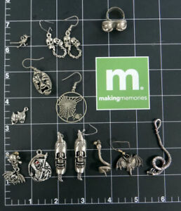 Vintage 1980s PUNK earring skull snake bat biker pendant stud silver lot gothic