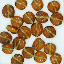 Glass Beads Topaz Transparent Twist 12mm. Pack of 20. Made in India.