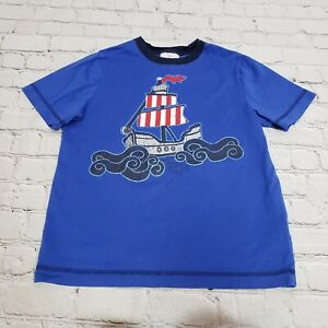Hanna Andersson Kids Boys Sailing Boat Graphic Tee T-Shirt Blue Size 130cm