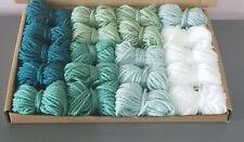 Green Ombre Dk Wool job lot knitting crochet crafts pom pom square craft macrame