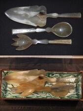 Tortenheber, Salatbesteck aus Horn mit Silbergriff ca.1930 Deutschland