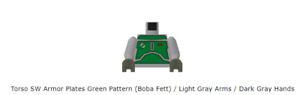 Lego Minifigure Torso SW Armor Plates Green Pattern (Boba Fett) Light Gray Arms