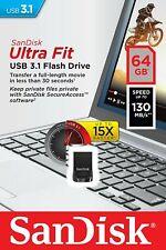 Sandisk 64 GB Ultra Fit CZ430 USB 3.1 3.0 Speicherstick USB-Stick 130MB/s