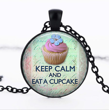 Keep Calm and Eat a Cupcake Black Glass Cabochon Necklace chain Pendant Wholesal