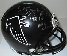 Falcons EUGENE ROBINSON Signed Riddell Mini Helmet AUTO  w/ '98 PR NFC Champs