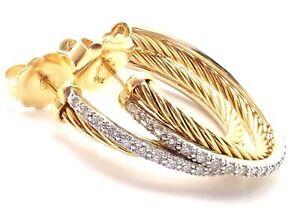 Authentic! David Yurman 18K Yellow Gold Diamond Crossover Medium Hoop Earrings