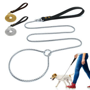 Snake Chain Choke Collar Slip Lead with Leather Handle Pet Training Leashes Gold