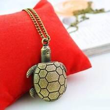 Retro Vintage Bronze Turtle Pendant Necklace Quartz Chain Pocket Watch Charming