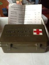 Vintage Plastic FIRST AID KIT With Supplies. Hermsdorf Fixture Inc. Great Item!