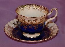 Royal Albert English Bone China Teacup & Saucer ☆ Regal Series Dark Blue