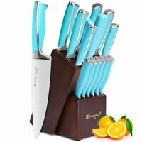 Knife Set, 15-Piece Kitchen Knife Set with Block Wooden German Stainless Steel