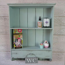 Shabby Chic Cupboard Vintage Blue Wooden Cabinet Wall Shelves Drawer & Hooks