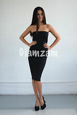 Womens Ladies Black Strapless Bodycon Boobtube Wiggle Party Dress Size 8 16 L Blacks