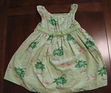 Gymboree Lime Green Flamingo Palm Tree Lined Cotton Dress 12-18 month Twin EUC