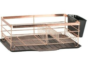 Brooklyn Dish Drainer with Kitchen roll Holder & Mug Tree - RoSe Gold