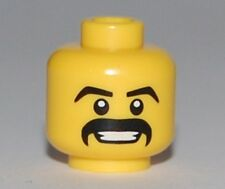 LEGO - Minifig, Head Moustache Black Thick, Grin w/ Teeth, White Pupils Pattern