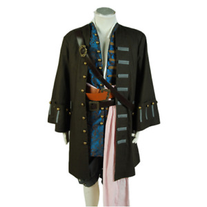 Pirates of the Caribbean Captain Jack Sparrow Jacket Vest Pants Cosplay Costume