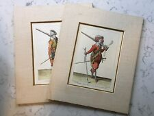 2 ANTIQUE GROSE'S MILITARY COSTUMES ENGLISH ARMY PRINT 1786 MUSKETEER SOLDIER