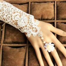 Gothic White Lace Bracelet Ring Set with White Flower Lingerie Vintage Jewellery