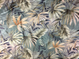 Medium Weight QUEEN BEDSPREAD Muted Grays Corals FOREST LEAVES BAMBOO Satin Top
