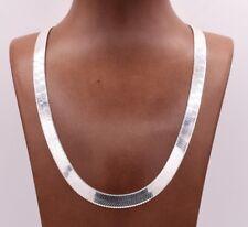 9 mm Collar Cadena Flexible Herringbone Real Plata Esterlina Sólida 925 Italia
