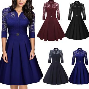 Mini abito cerimonia vestito elasticizzato da donna stile vintage manica a 3/4