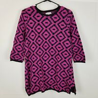 Women's Kim Rogers Sweater Size XL Purple Black Geometric Print 3/4 Sleeve