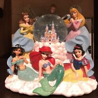 Disney Parks Princesses Light Up Musical Snow Globe Cinderella Aurora Ariel Snow