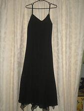 VINTAGE DRESS BLACK INSET LACE/CROCHET/SEQUINS AT HEM SHOE STRAPS SIZE 12UK