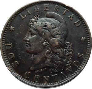 1891 ARGENITINA Authentic Antique Dos 2 Centavos Bronze Coin w FREEDOM i66502