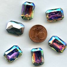120 *** 6 CABOCHONS ANCIENS CRYSTAL FOND CONIQUE OCTOGONE 16X11,5mm CRYSTAL AB