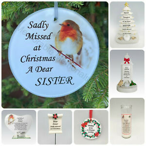 Sister - Christmas Memorial Tributes - Xmas Tree Robin Bauble Candle Book Plaque