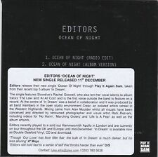 EDITORS OCEAN OF THE NIGHT RARE 2 TRACK PROMO CD