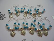 """10 Turquoise & Cream Wine Glass charms  """"made with love heart""""   Wedding Favour"""