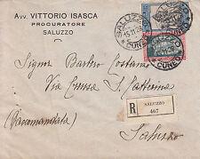 Filiberto 25 cent(231)+1,25 lire(235)-Raccomandata oer città Saluzzo 15.11.1928