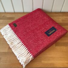 TWEEDMILL Pure New Wool  KNEE RUG / SMALL THROW Fishbone RED Blanket Gift