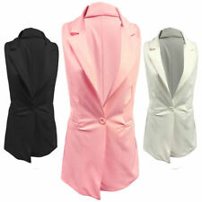 Button Polyester Casual Waistcoats for Women