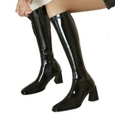 34/41 Women's Synthetic Patent Leather Chunky Heel Square Toe Knee High Boots L