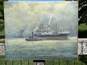 Guy Wiggins PAINTING - 20TH CENTURY ART- Brooklyn Bridge Painting  Hudson River
